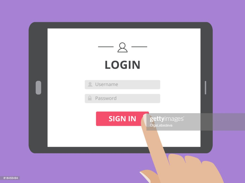 Hand touching the screen of tablet computer with user login form page and sign in button.