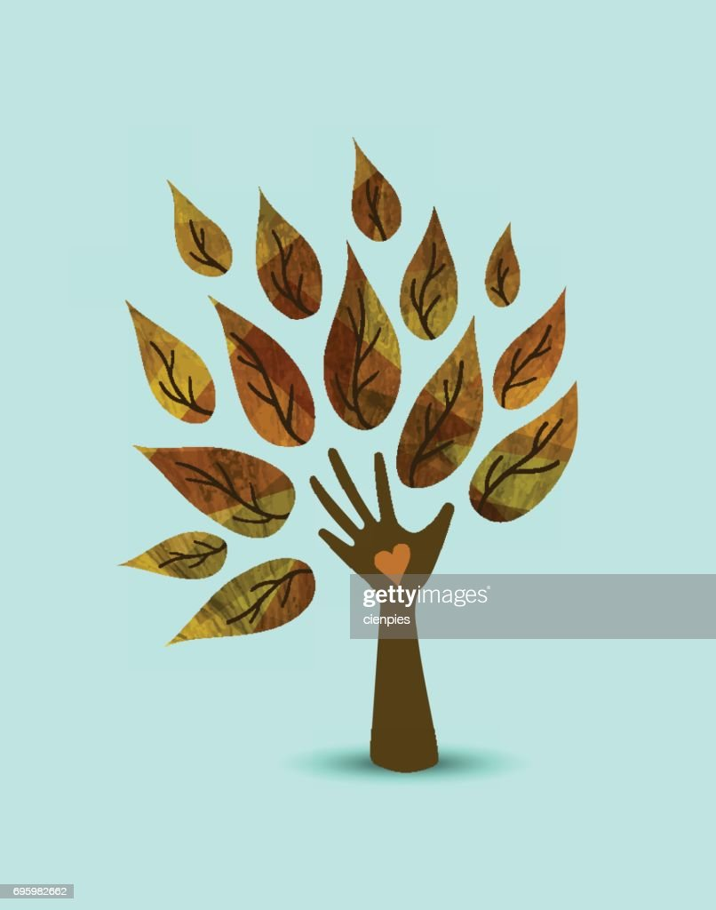 Hand tree nature love concept illustration art