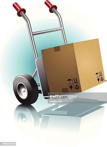 hand truck and transport - hand truck stock illustrations, clip art, cartoons, & icons