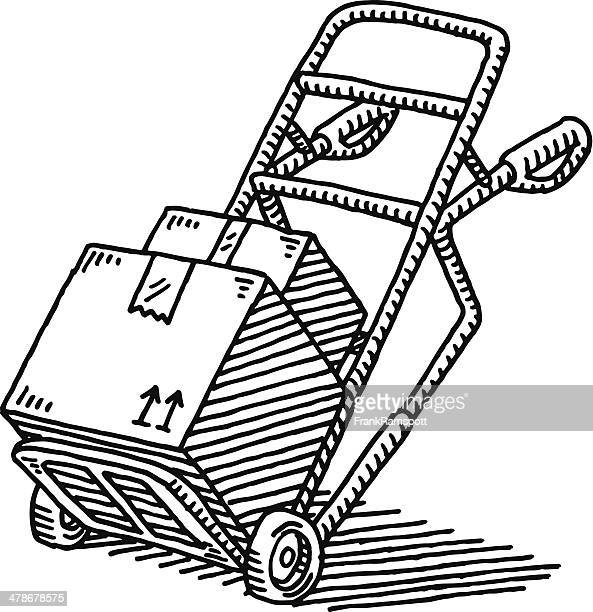 hand truck parcel delivery drawing - hand truck stock illustrations, clip art, cartoons, & icons
