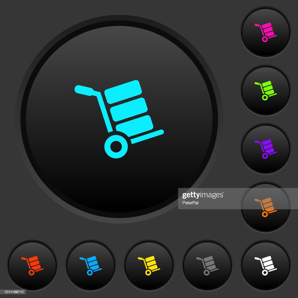 Hand truck with boxes dark push buttons with color icons