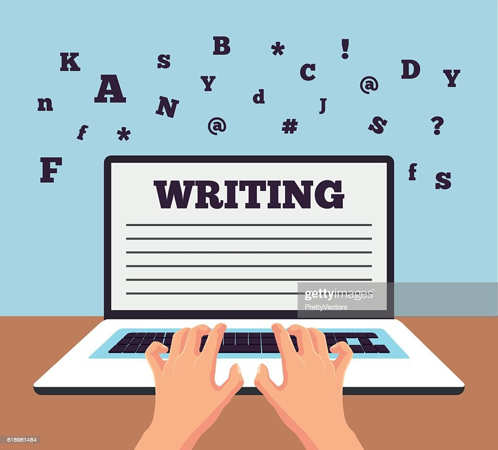 Hand typing on laptop. Vector flat cartoon illustration
