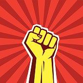Hand Up Proletarian Revolution - Vector Illustration Concept