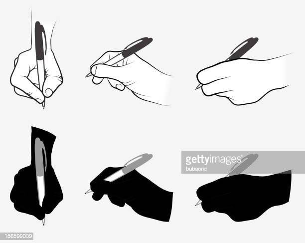 hand using pen collection - ballpoint pen stock illustrations, clip art, cartoons, & icons