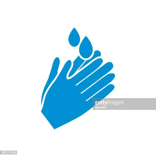 hand washing badge or icon - washing hands stock illustrations