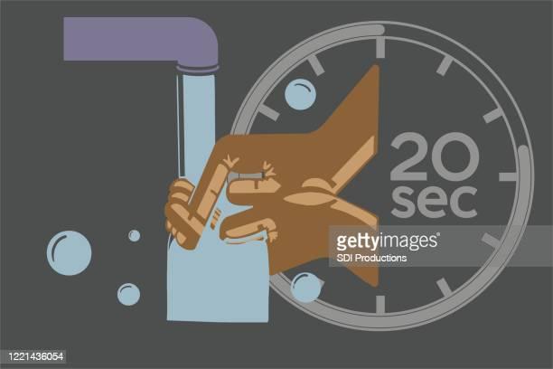 covid-19パンデミック中に20秒間手洗い - 数字の20点のイラスト素材/クリップアート素材/マンガ素材/アイコン素材