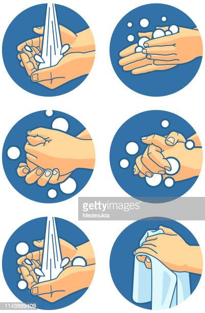 hand washing instructions - hand stock illustrations