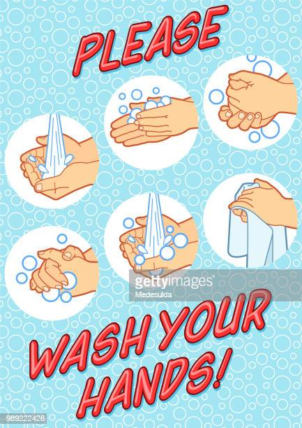 hand washing sign vector - paper towel stock illustrations, clip art, cartoons, & icons