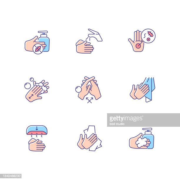 hand washing steps rgb color icons