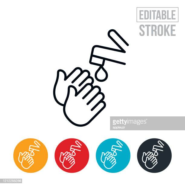 hand washing thin line icon - editable stroke - washing hands stock illustrations