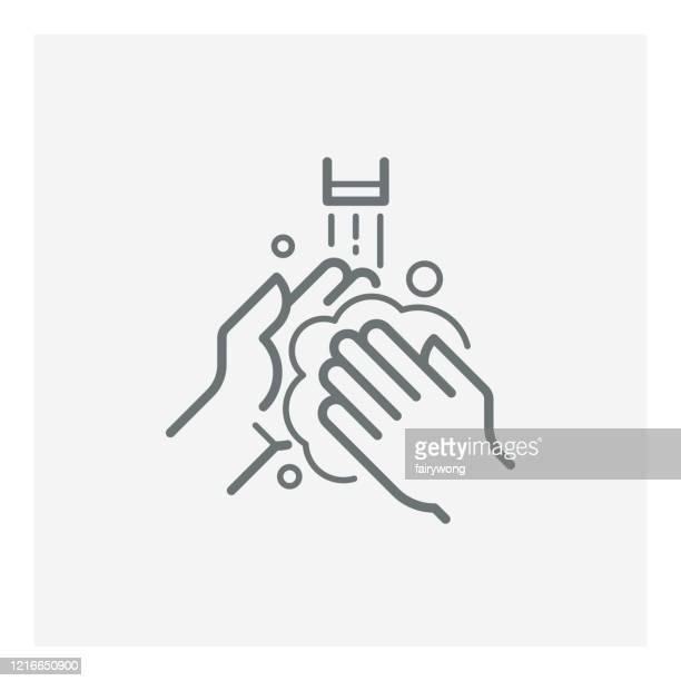 手洗いベクトル線アイコン - ゴシゴシ洗う点のイラスト素材/クリップアート素材/マンガ素材/アイコン素材