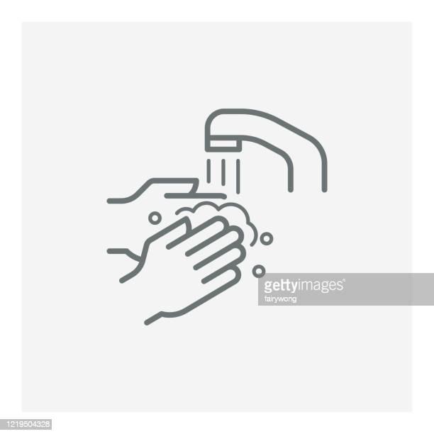 illustrations, cliparts, dessins animés et icônes de icône de ligne de vecteur de lavage de main - lavage des mains