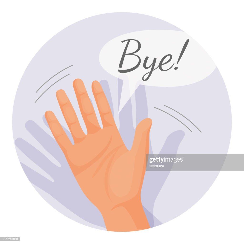 Hand waving goodbye vector illustration in round circle isolated : stock illustration