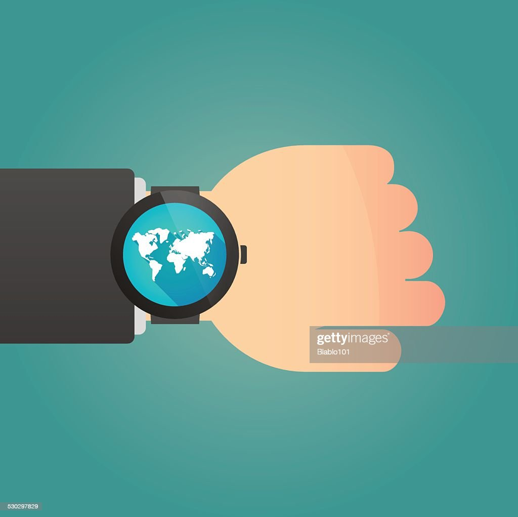 Hand wearing a smart watch displaying a world map