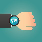 Hand wearing a smart watch displaying a world map