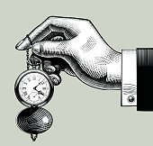 Hand with an old clock. Retro pocket watch