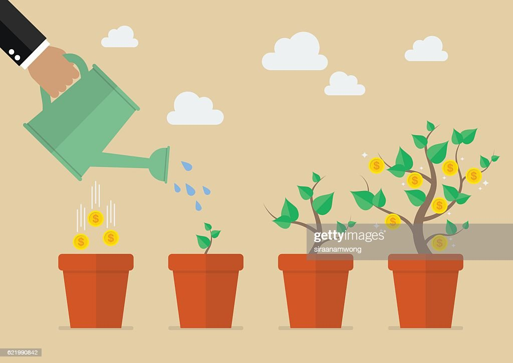Hand with can watering money tree : stock illustration