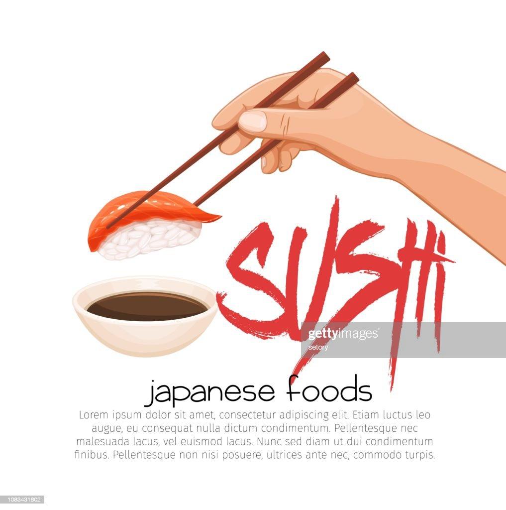 Hand with chopsticks sushi