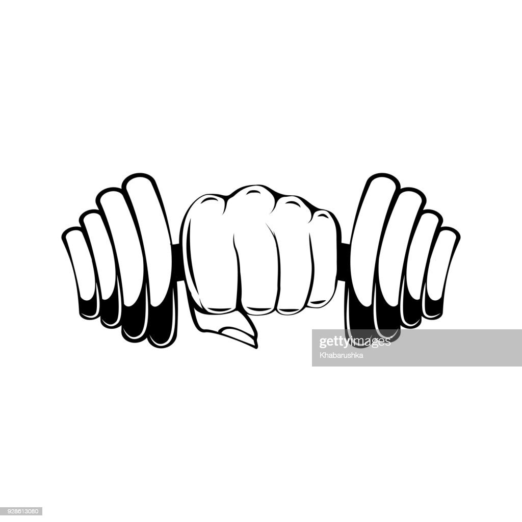 Hand with dumbbell. Dumbbell in fist. Vector illustration