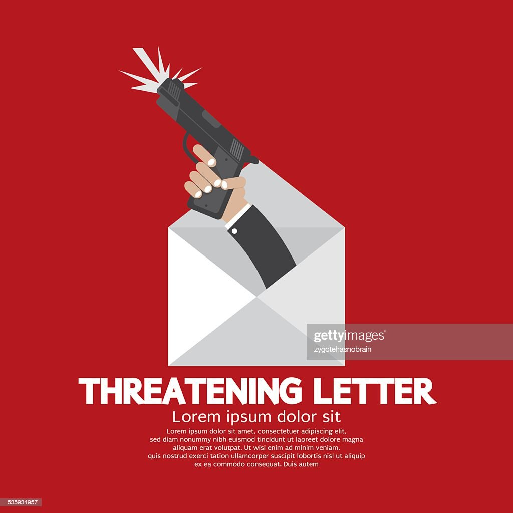 Hand With Knife Threatening Letter Concept : Vector Art