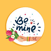 "Hand with Love tattoo, Hand drawn lettering ""Be mine"""