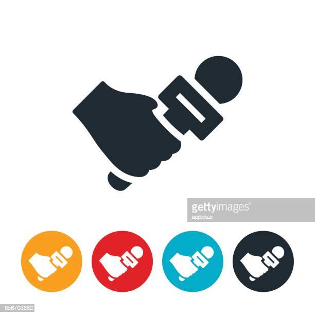 hand with microphone icon - journalism stock illustrations
