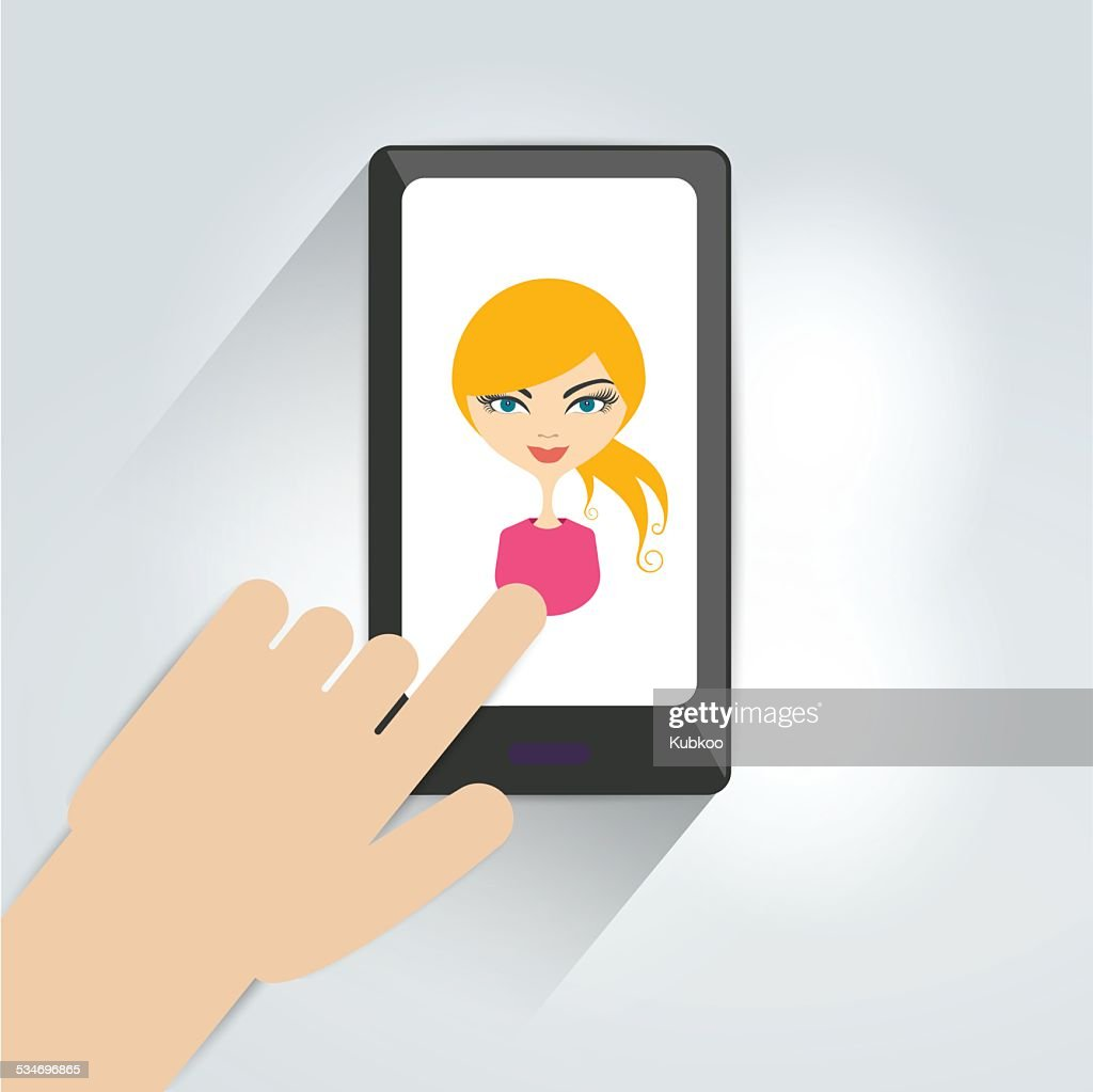 Hand with mobile. Flat graphic design . Woman selfie photo.