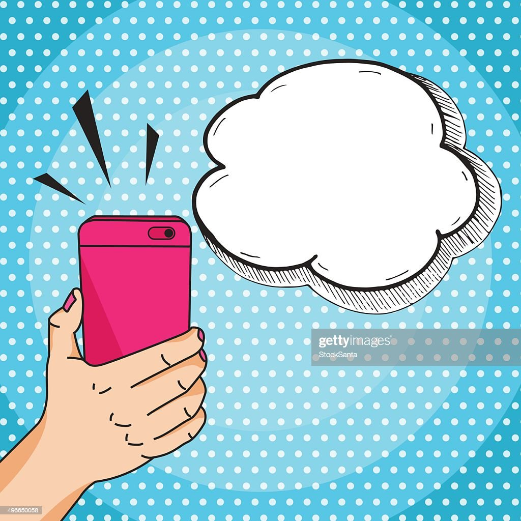 Hand with mobile phone comic style pop art vector
