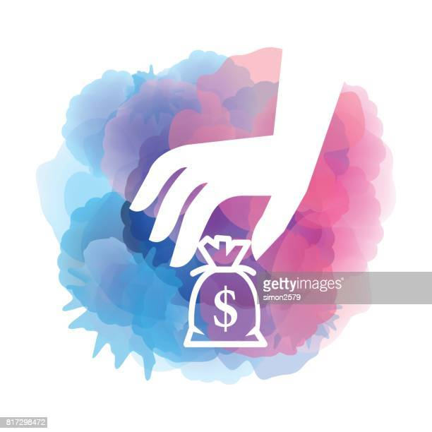 Hand with money icon on watercolor background