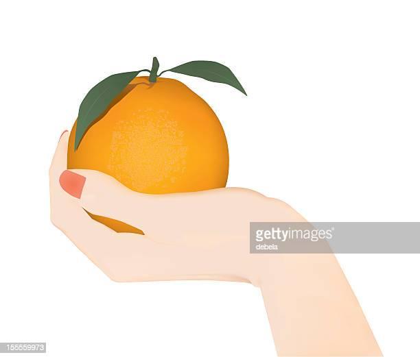 Mano con arancione
