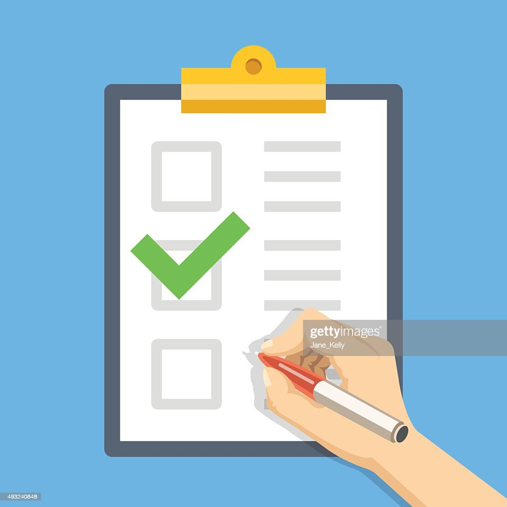 Hand with pen, clipboard with checklist. Fill form. Flat illustration