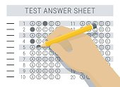 Hand with pencil filling out answers on exam test answer sheet, flat style vector illustration
