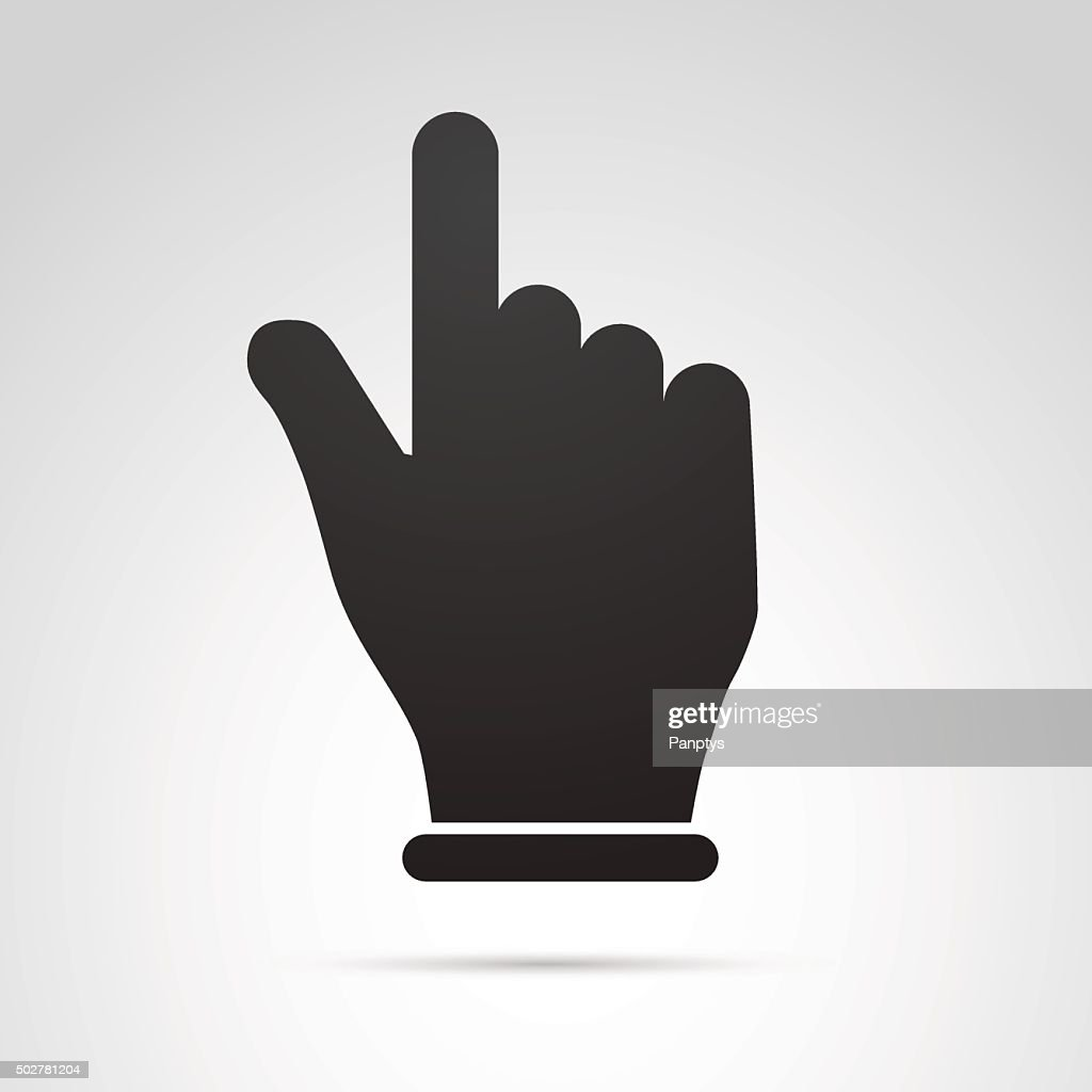 Hand with pointing finger icon isolated on white background.