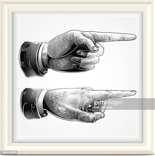 hand with pointing finger - woodcut stock illustrations