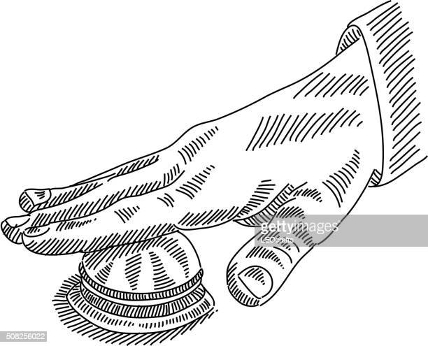 hand with service bell drawing - hotel reception stock illustrations, clip art, cartoons, & icons