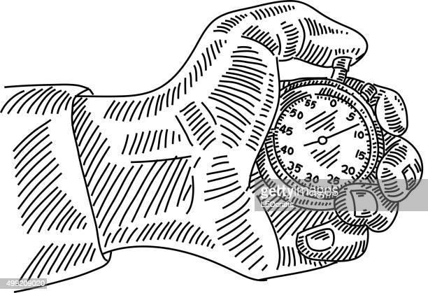 ilustrações, clipart, desenhos animados e ícones de mão com o desenho smart parar de assistir - cronômetro instrumento para medir o tempo