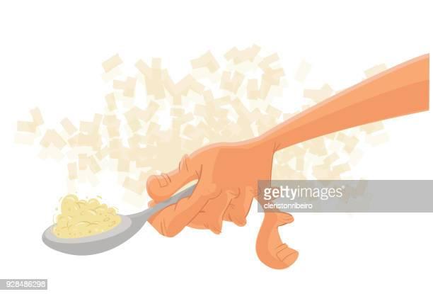 Mão com colher
