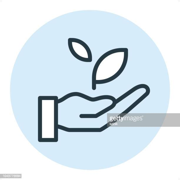 hand with sprout - pixel perfect single line icon - seedling stock illustrations