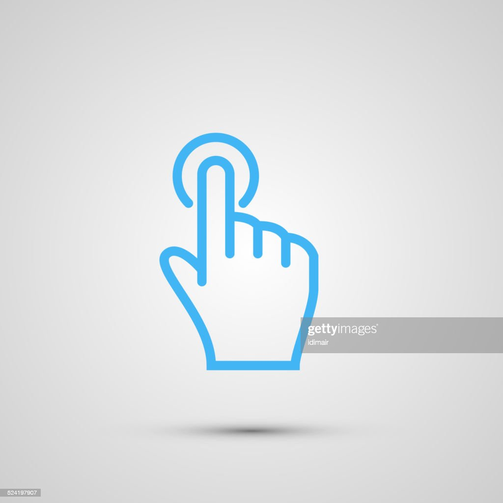 Hand with touching a button or pointing finger sign emblem