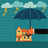 Hand with umbrella protecting house. Insurance, crisis, financial problems concept