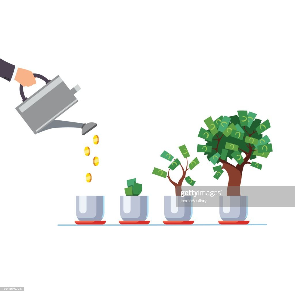 Hand with watering can pouring golden coins money