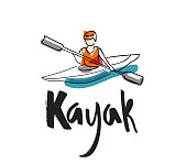 "Hand writing ""Kayak"" with illustration of a man in a kayak"
