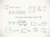 Hand writing mathematics formula. Vector