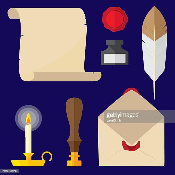 hand written letter items - quill pen stock illustrations