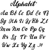 Hand written lowercase and uppercase calligraphy alphabet.