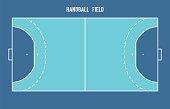 Handball field. Top view vector illustration.
