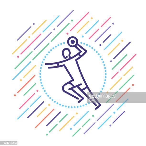 handball line icon - handball stock illustrations