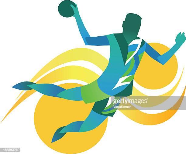 handball player - abstract illustration - handball stock illustrations