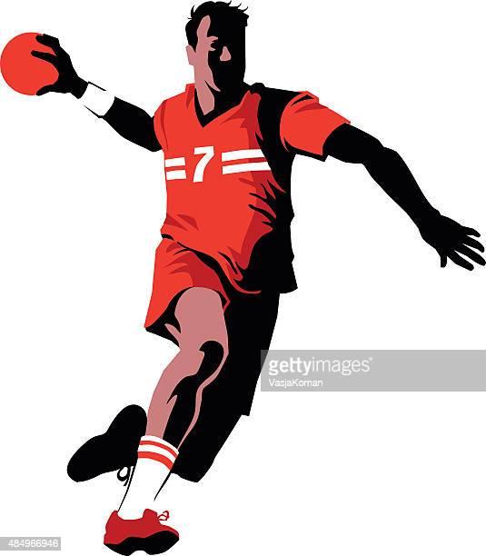 handball player in attack - team sport - handball stock illustrations