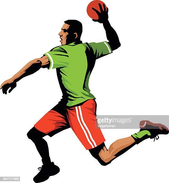 handball player jumping to shoot for goal - isolated - handball stock illustrations